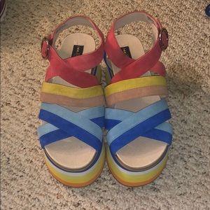 Shelley London platform rainbow shoes
